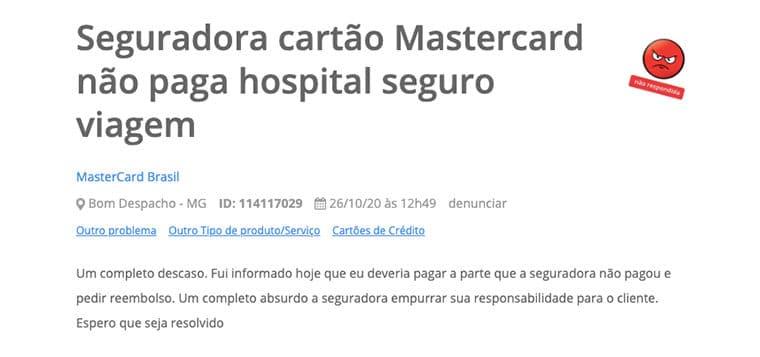 Seguro viagem Mastercard Black reclamação