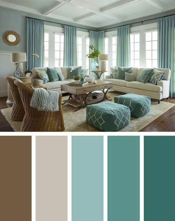 green combination for living room theme