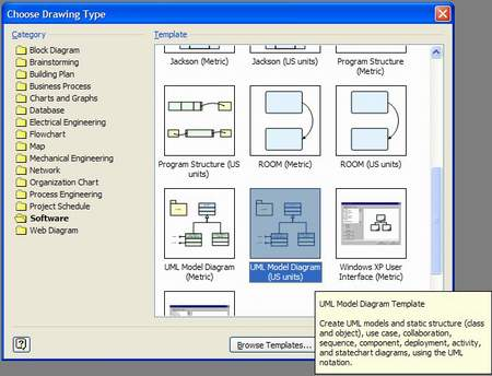 Uncovering requirements with uml class diagrams part 1 tyner blain create a new file and select the software category then scroll down and select uml model diagram in either us or metric units ccuart Image collections