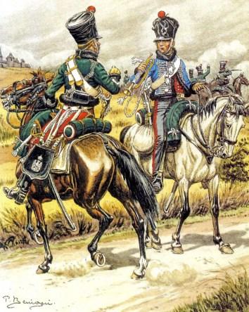 Trompette et sous-officier du 1er régiment d'éclaireurs - Aquarelle de Pierre Bénigni.