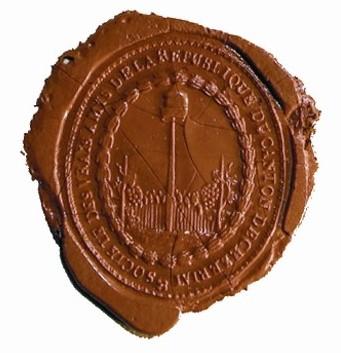 Sceau à cire des Amis de la République du canton de Cériziat, époque Révolution - Photo fonds iconographique de la SEHRI