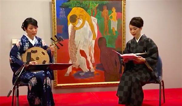 月琴で綴る龍馬の手紙@芸西村、尾崎美樹さんと永田斉子、演奏風景