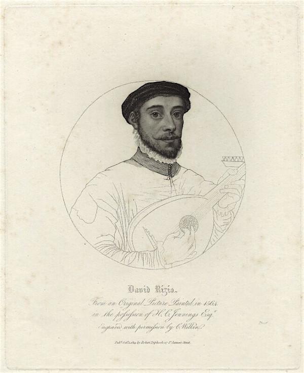 リュートを持つデイヴィッド・リッチオの肖像