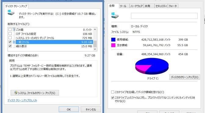 Cドライブディスクのクリーンアップ