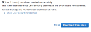 AWS: Download your credentials
