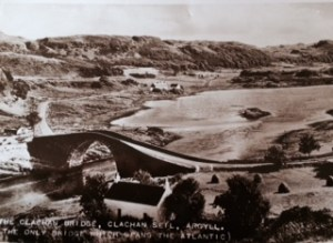 old postcard image of the bridge showing Sheiling