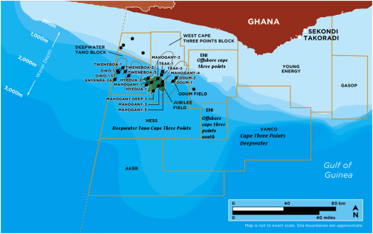Located  Kilometers Off The Coast Of Ghana Measures Approximately  Square Kilometers In Water Depths Ranging From