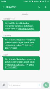 SMS Notifikasi Ninja Xpress