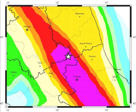 Map of seismic rick in the Italian Apennines.