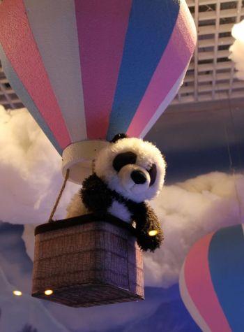Frohes neues Jahre 2018 wünscht Katharina Mauder Seitenwaise Text, Panda, Heißluftballon, Stofftier, Kuscheltier, Plüschtier