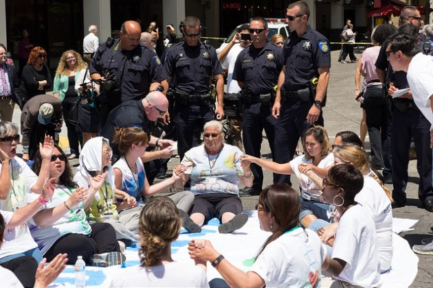 Activist Teresa Lewxowitz arrested at child care rally