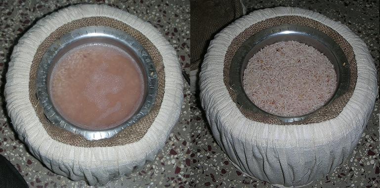 (Left)Rice before transferring to Haybox, (Right)Rice after Haybox cooking