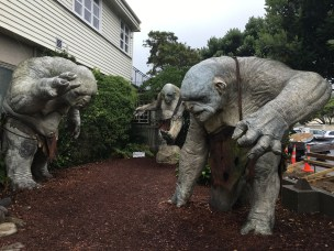 Trolls from the Hobbit welcome you into the Weta Cave