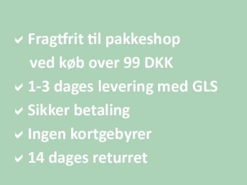 Dansk design Sikker handel Levering med GLS