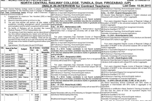 Northern Railway NCR College Teacher Recruitment 2015 Apply Online Form