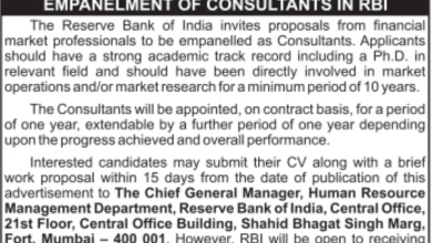 RBI Recruitment 2015-16 Notification Consultant Apply Online Selection Procedure Last Date