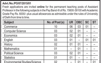 Ramanujan College DU Recruitment 2015 Application Form Last Date For Teaching Job Assistant Professor