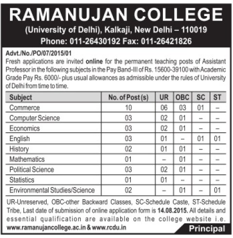 Ramanujan College DU Recruitment 2015 Application Form Last Date For Teaching Job Assistant Professor