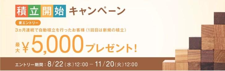 ウェルスナビの積立キャンペーンで5000円プレゼント
