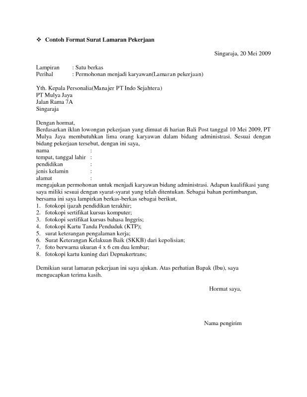 Contoh Surat Lamaran Kerja Admin Sosmed