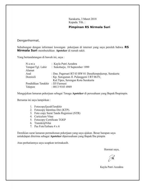 Contoh Surat Lamaran Kerja Untuk Rumah Sakit Mitra Keluarga Kumpulan Contoh Gambar