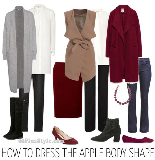 Typ jabłko co nosić to trudny wybór, trzeba całkowicie zakryć brzuch. Lejące i długie sukienki to dobry wybór