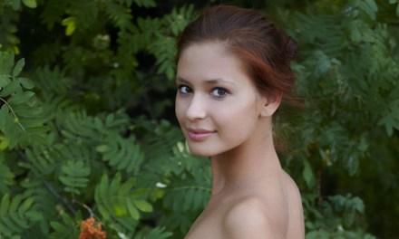 Knappe vrouw is erotisch aan het doen in het bos