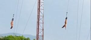 Chinese vrouw doet aan naakt bungeejumpen in Thailand