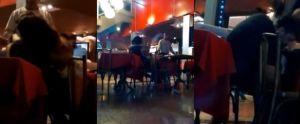Stel heeft sex in een restaurant