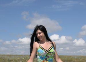 Kristina G, blauwe skippybal op de hei
