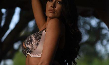Lingerie set, grote borsten, een knappe vrouw en een striptease