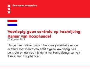 Controles op prostitutie uitgesteld. Bericht van de gemeente Amsterdam. Met dank aan Jan Visser