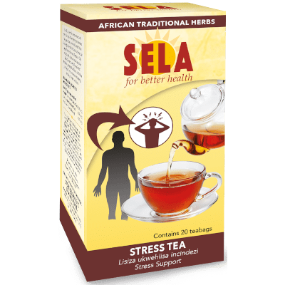 a box of sela stress tea 20's