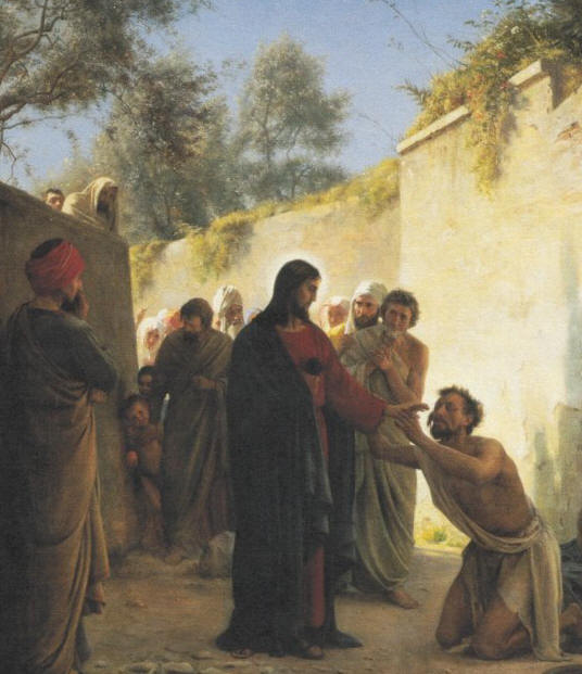 Throwing his cloak aside, he jumped to his feet and came to Jesus
