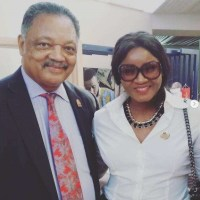 Actress Omotola Jalade Ekeinde Shares Stage With Activist Rev. Jesse Jackson