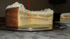 Raffinierte Festtagstorte mit Vanillecreme, Biskotten und Biskuit.