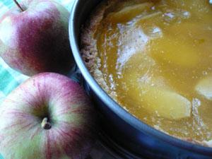 Feiner Mürbteig mit Apfelscheiben belegt, einer saftigen Karamell-Puddingmasse übergossen und mit Schlagobers und Eierlikör perfektioniert.