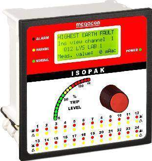 ISOPAK224W DC Ground Fault Monitor, Output Relay, Analog Output (24 Channels)