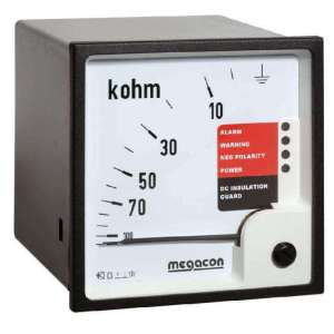 KPM169 Insulation Monitor for DC Systems 60-200VDC, 10k-5MOhm Scale, Output Relay, optional Analog Output