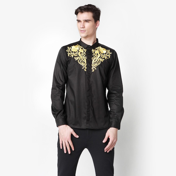 COMODDITY Gold Embroidered Chest Slim-Fit Shirt