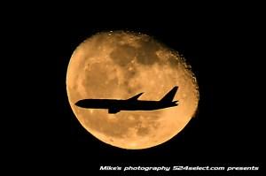 月の中に飛行機を入れて撮る方法
