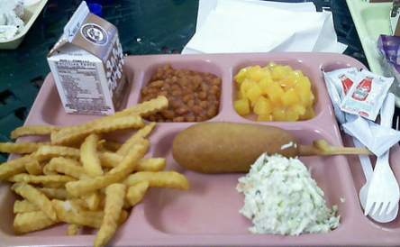 アメリカの給食の一例。日本人から見ると、これは悲惨な食事としか言いようがない。
