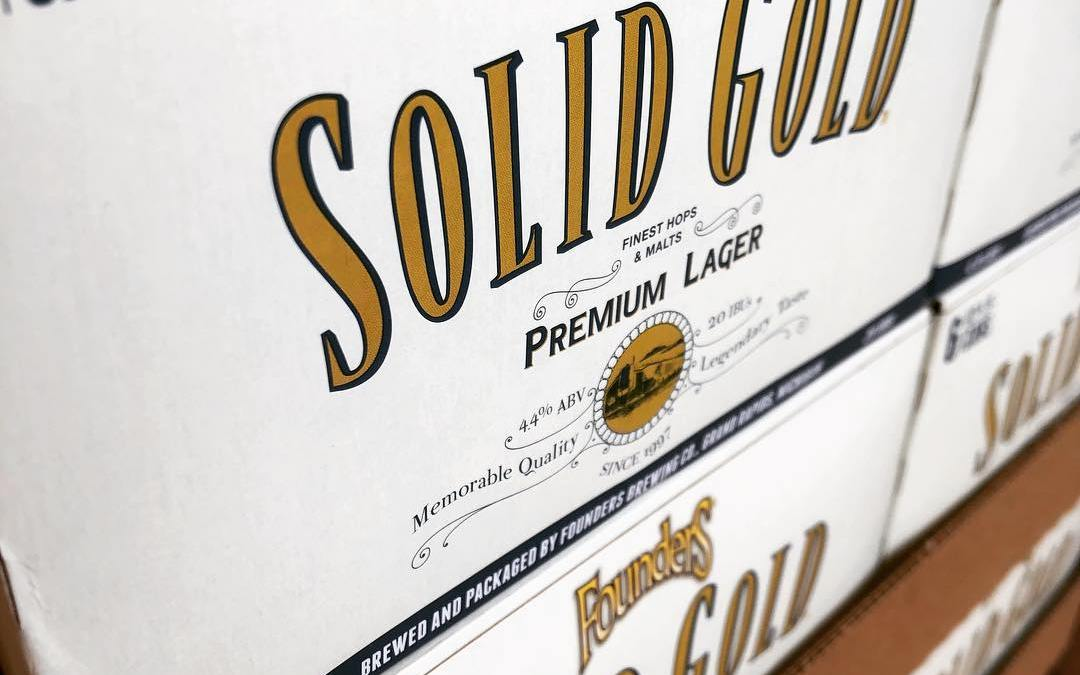 @foundersbrewing Solid Gold Premium Lager in now available at our Perkins Rd location! #beer #lager…