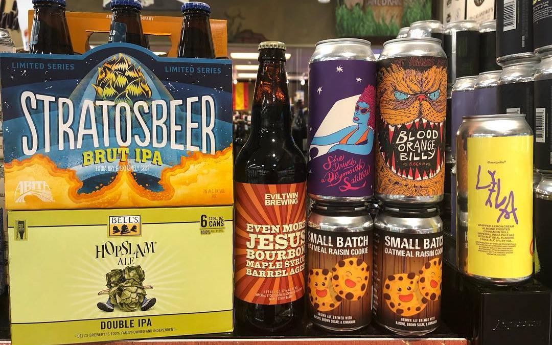 New brews now available at Both locations! @eviltwinbrewing @abitabeer @fatorangecatbrewco @omnipollo @bellsbrewery @chandeleurbeer #beer #drinklocal…
