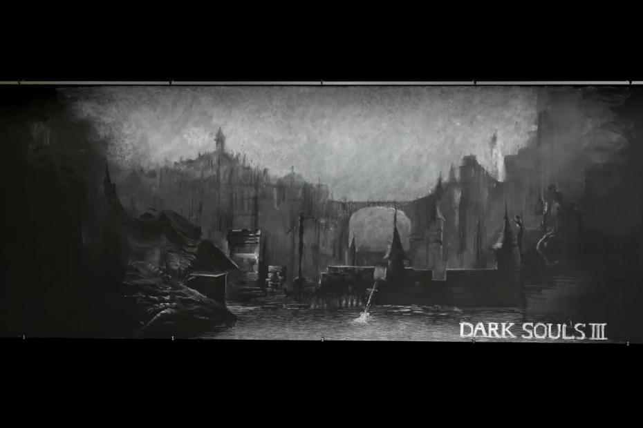 Dark Souls III - Arte recriada num quadro negro