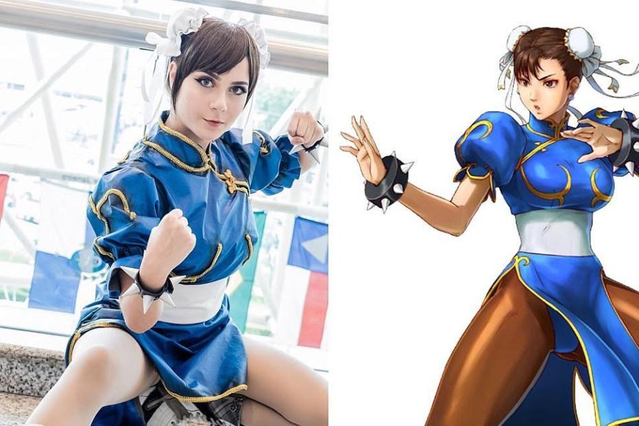 Cosplay incrível da Chun-Li com uniforme original - Street Fighter - Capcom - Topo