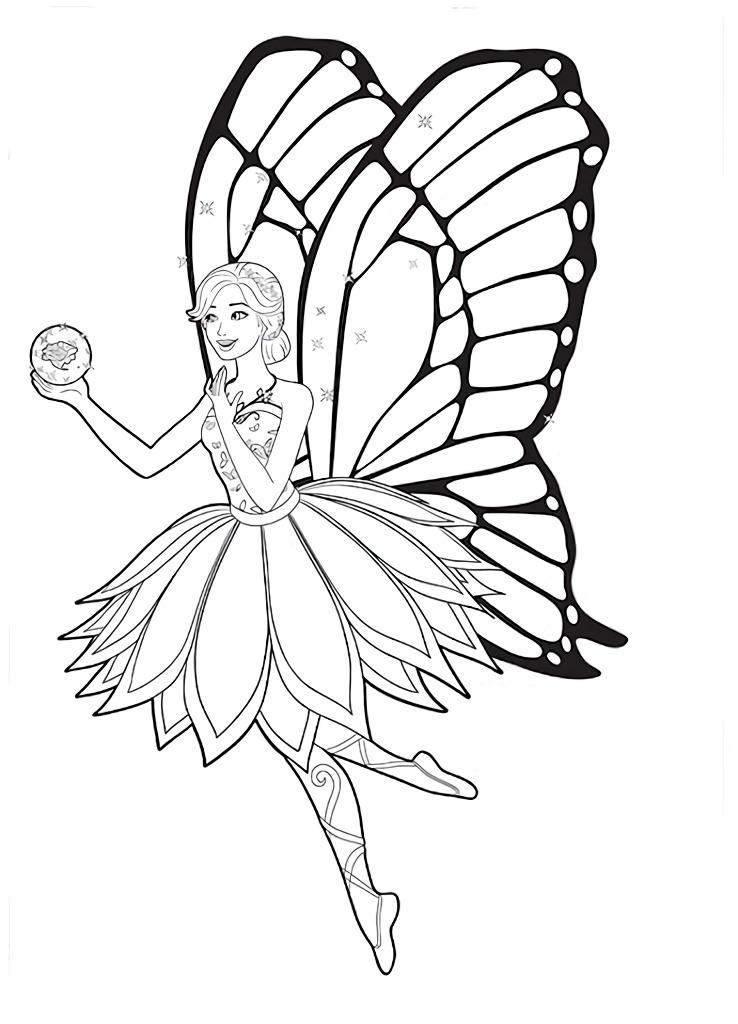Barbie com vestido de Fada - Desenhos pra pintar, colorir, imprimir e preencher - Artes e Lápis de Cor 03