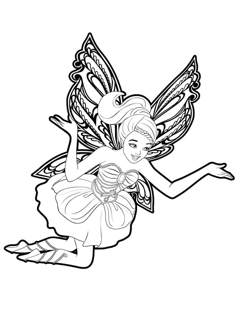 Lindo desenho da Barbie Fada para colorir, pintar e imprimir - Asas de Borboleta e vestido fofo 02