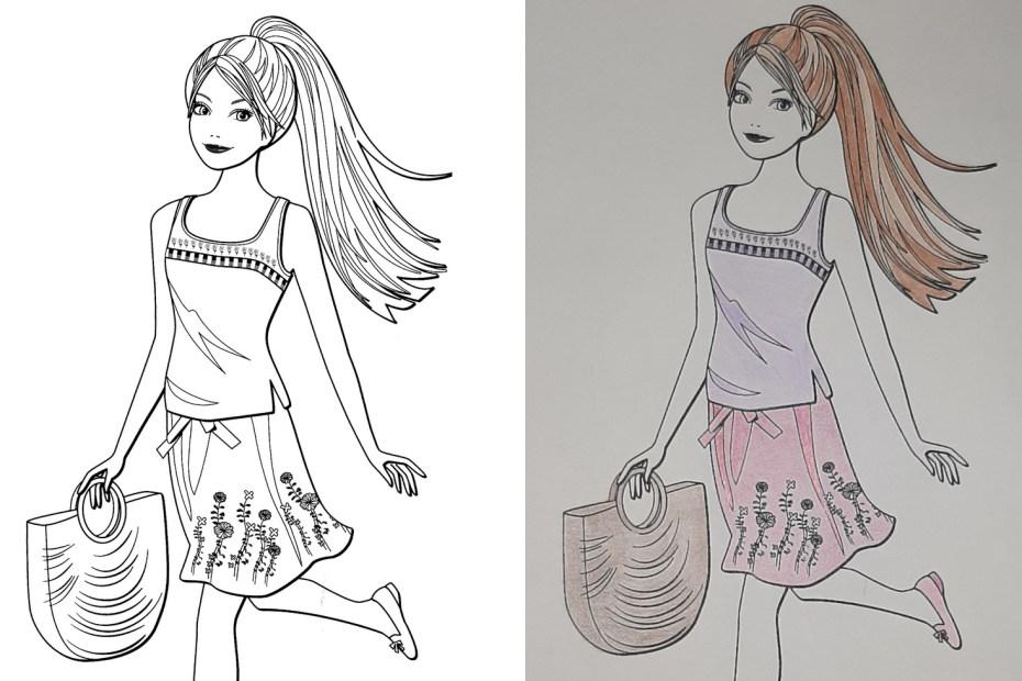 Passo a passo pra colorir um desenho da Boneca Barbie - Arte Elegante e fofa - Usando lápis de cor Topo