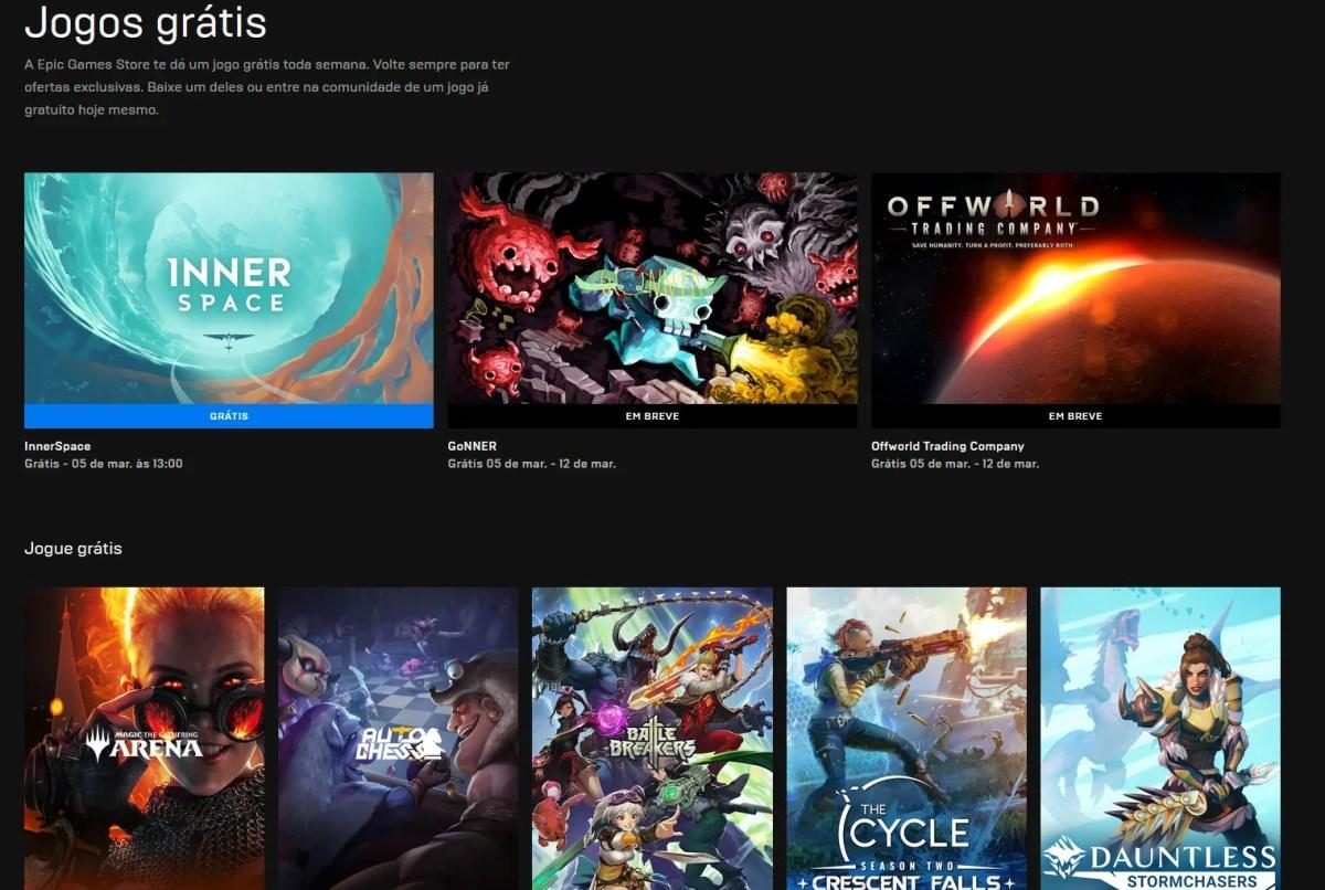 Jogos Grátis na Epic Store